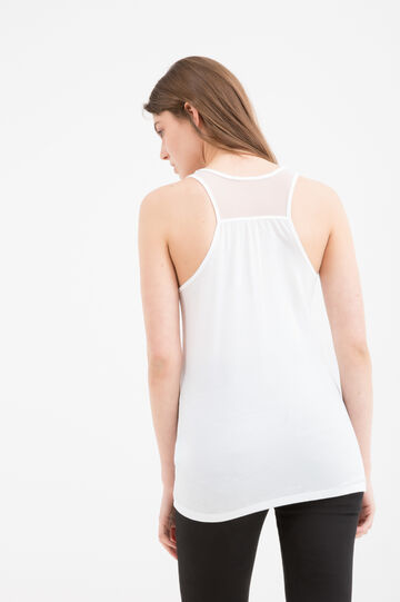 Viscose blend top with inserts, Milky White, hi-res