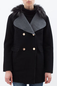 Double-breasted coat with faux fur collar, Black, hi-res