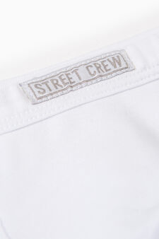 Stretch cotton boxers with patches, White, hi-res