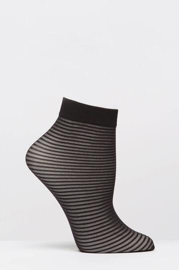 Short stretch striped pop socks, Black, hi-res