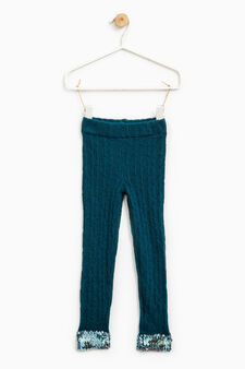 Knitted leggings with sequins on ankles, Teal Green, hi-res