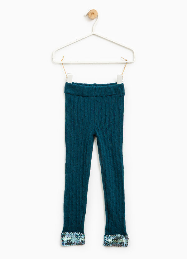 Knitted leggings with sequins on ankles | OVS