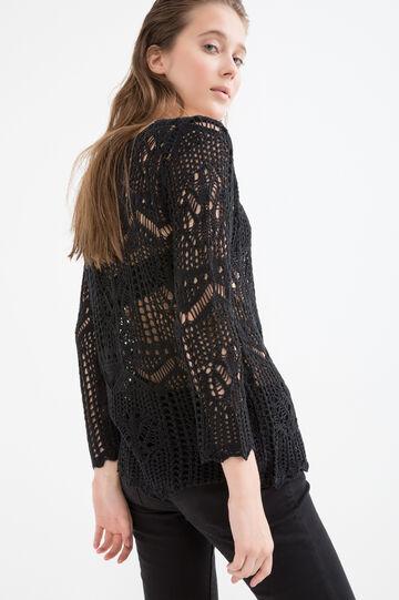 Pullover traforato tricot, Nero, hi-res