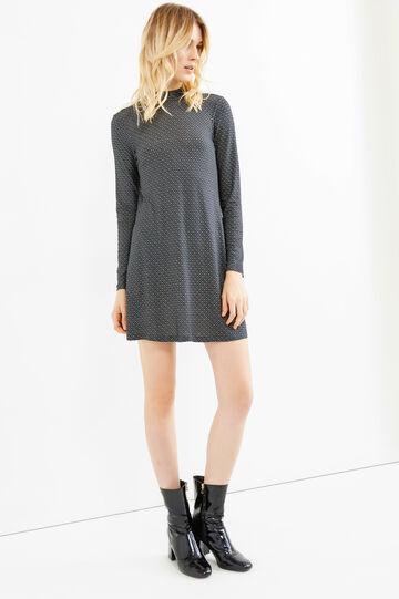Stretch rayon short dress, Black, hi-res