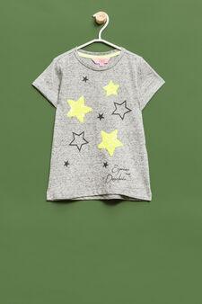 T-shirt stelle con glitter e paillettes, Grigio melange, hi-res