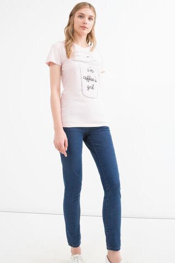 T-shirt puro cotone con stampa, Rosa, hi-res