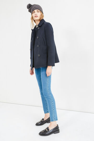 Coat with asymmetrical opening, Navy Blue, hi-res