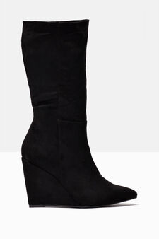 Suede-effect boots with wedge, Black, hi-res