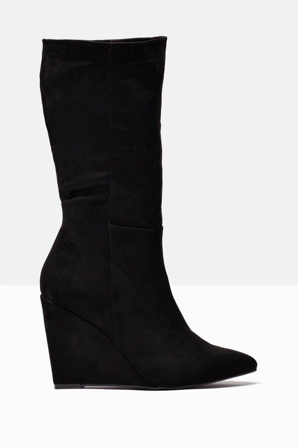Suede-effect boots with wedge | OVS