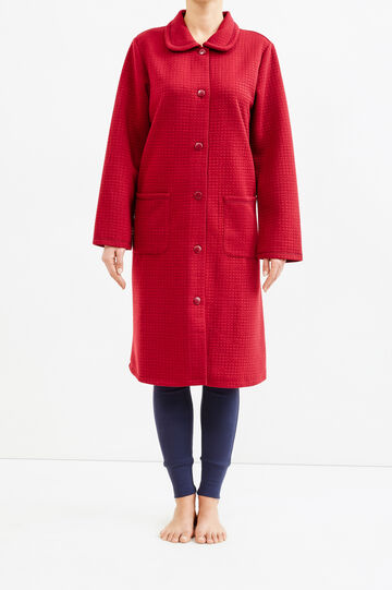 Raised check weave dressing gown, Claret Red, hi-res