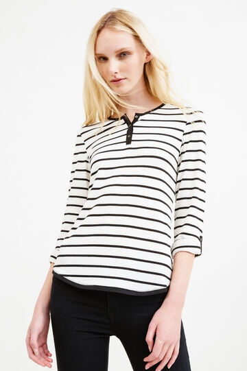 Stretch viscose T-shirt with striped pattern, White/Black, hi-res