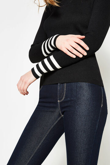 Ribbed pullover with striped cuffs