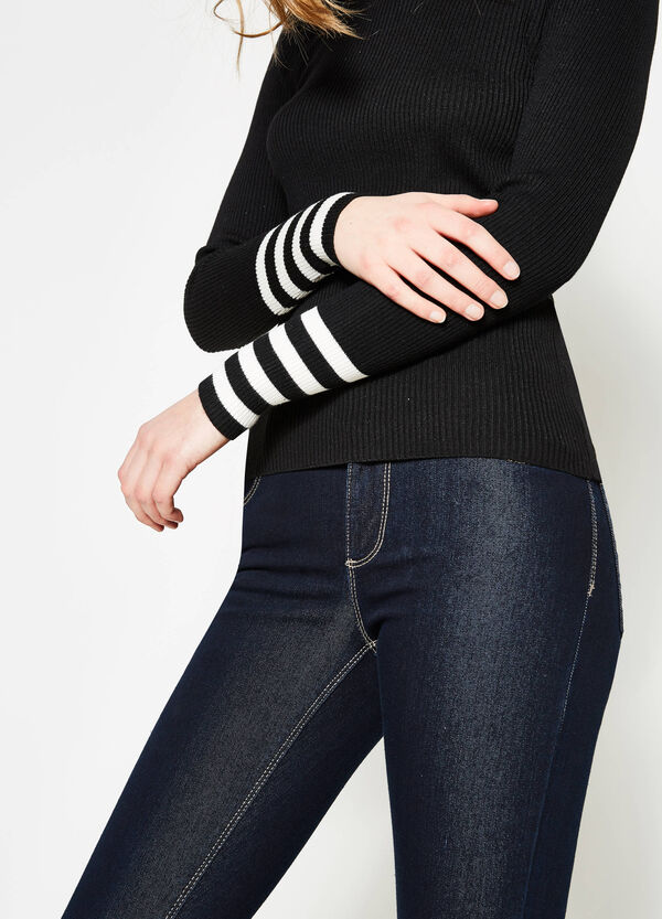 Ribbed pullover with striped cuffs | OVS