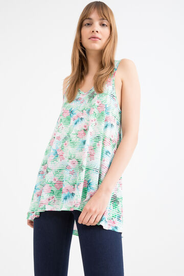 V-neck top in 100% viscose, Pink, hi-res