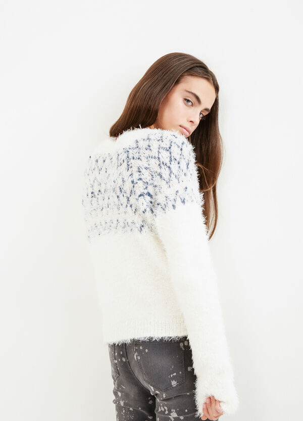 Teen faux fur pullover with diamond design | OVS