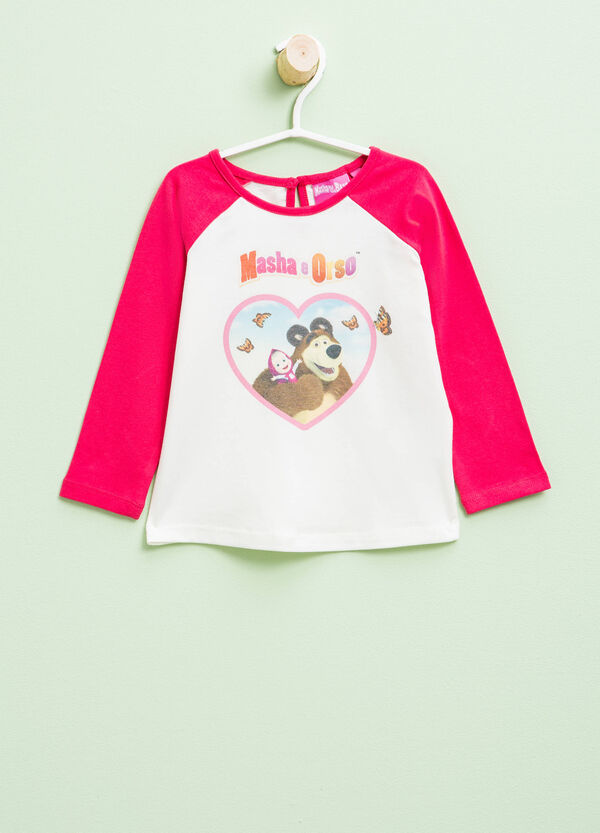 Masha and the Bear T-shirt with contrasting sleeves | OVS