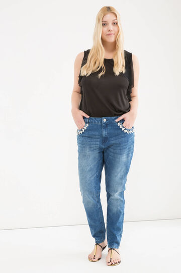 Curvy worn-effect stretch jeans, Denim Blue, hi-res