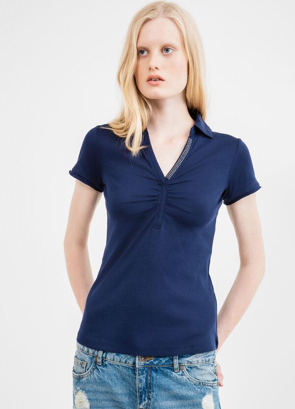 Diamanté V-neck polo shirt in 100% cotton | OVS
