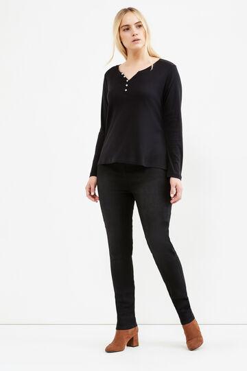 Curvy T-shirt with diamanté buttons on neck, Black, hi-res