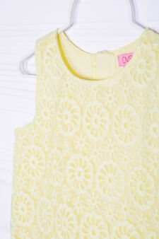 Solid colour embroidered dress, Yellow, hi-res