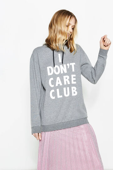 Sweatshirt in cotton with printed lettering, Grey Marl, hi-res