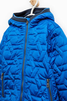 Down jacket with raised quilting and ribbing, Turquoise Blue, hi-res