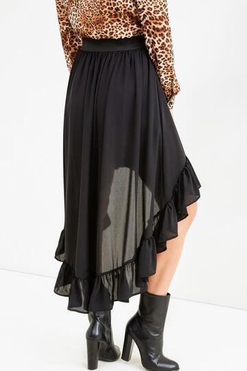 Asymmetric skirt with flounces, Black, hi-res