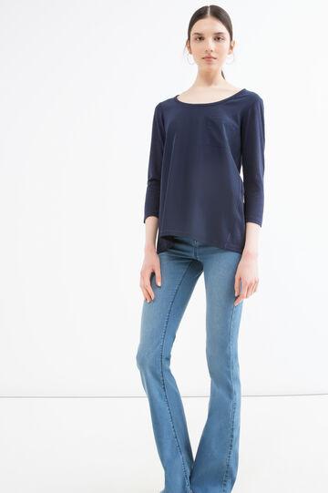 T-shirt misto viscosa con taschino, Blu navy, hi-res