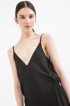 Long dress with split, Black, hi-res