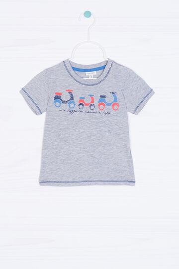 T-shirt puro cotone con stampa, Grigio melange, hi-res
