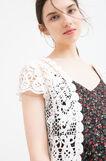 Short cotton cardigan with openwork design, Cream White, hi-res