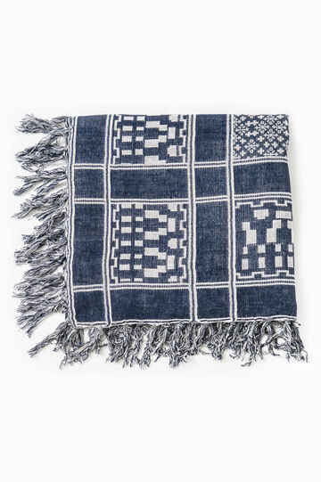 Jacquard viscose keffiyeh with pattern, White/Blue, hi-res