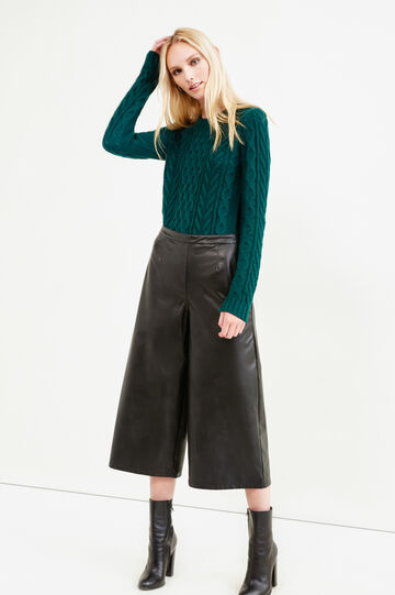 Leather look gaucho trousers, Black, hi-res