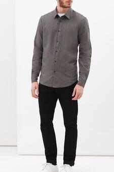 Slim-fit shirt in 100% cotton, Grey, hi-res