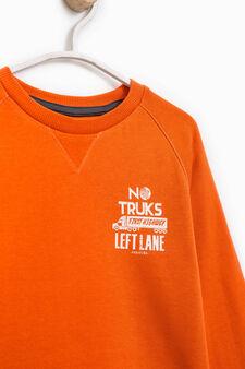 100% cotton printed sweatshirt, Orange, hi-res
