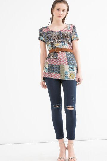 T-shirt pura viscosa con fantasia, Multicolor, hi-res
