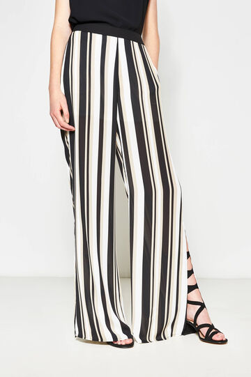 Striped palazzo trousers with slits, White/Black, hi-res