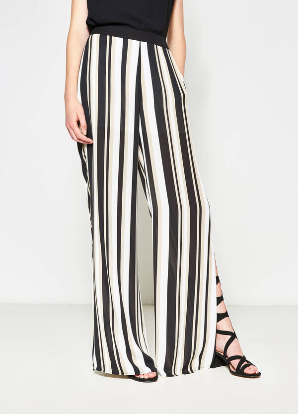 Striped palazzo trousers with slits | OVS
