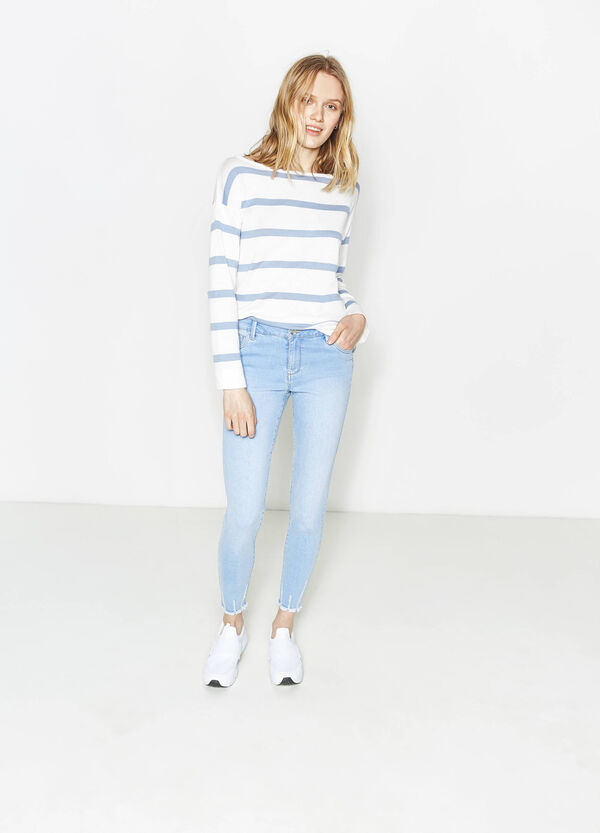 Striped cotton blend pullover | OVS
