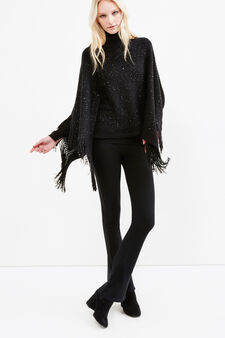 Cape with sequins and fringes, Black, hi-res