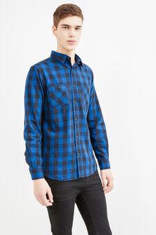 Camicia casual slim fit a quadri, Nero/Blu, hi-res
