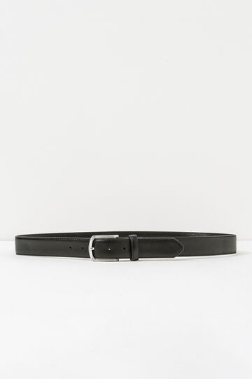 Textured-effect belt with round buckle, Black, hi-res
