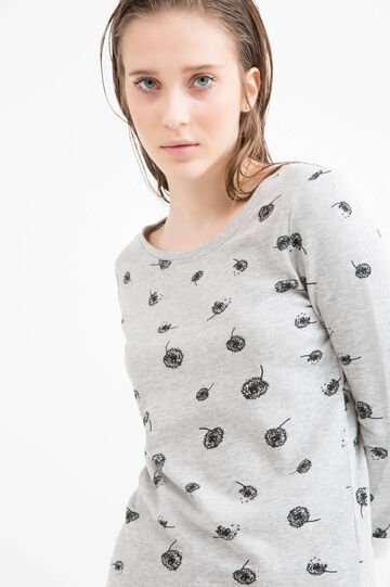 Printed sweatshirt in 100% cotton, Milky White, hi-res