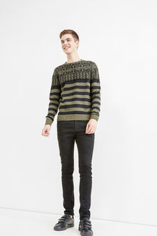 Jacquard striped pullover with embroidery, Black/Green, hi-res