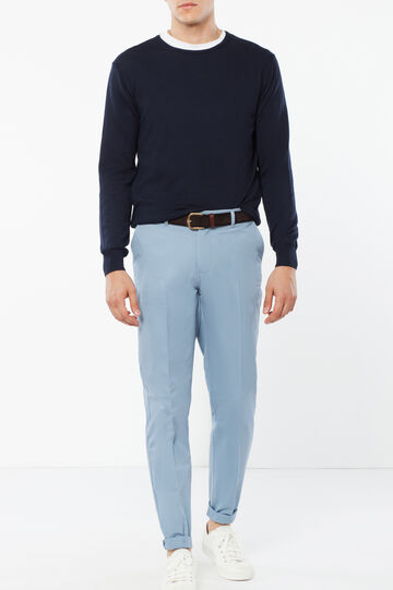 Cotton trousers with crease, Sky Blue, hi-res