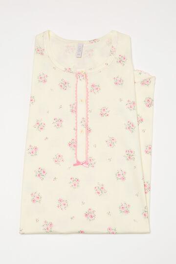 Camicia da notte puro cotone floreale, Multicolor, hi-res