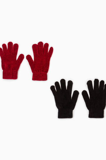 Two-pack knitted stretch gloves, Black/Red, hi-res