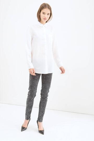 Camicia tinta unita puro cotone, Bianco, hi-res