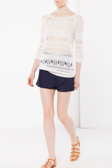 Openwork knit sweater, White, hi-res