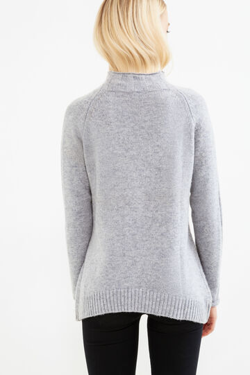 Solid colour wool blend pullover., Grey, hi-res